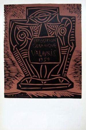 Linocut Picasso - Exposition Ceramique Vallauris 1959