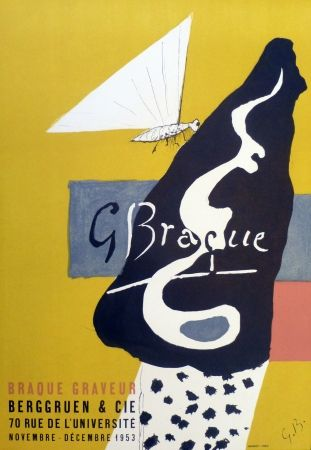 Lithograph Braque - Exposition galerie Berggruen 1953