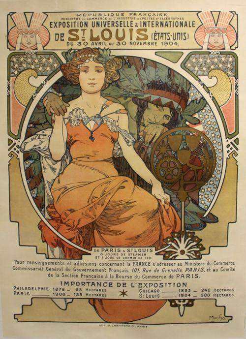 Lithograph Mucha - Exposition Universelle et Internationale  St Louis USA
