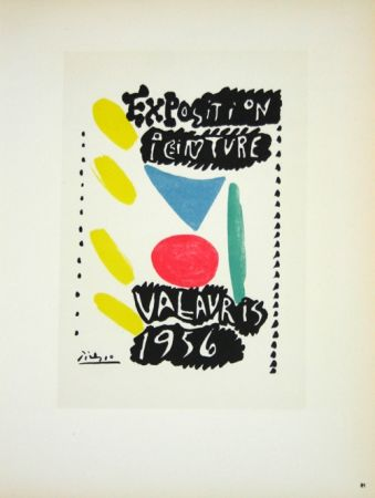 Lithograph Picasso (After) - Exposition Vallauris 1956