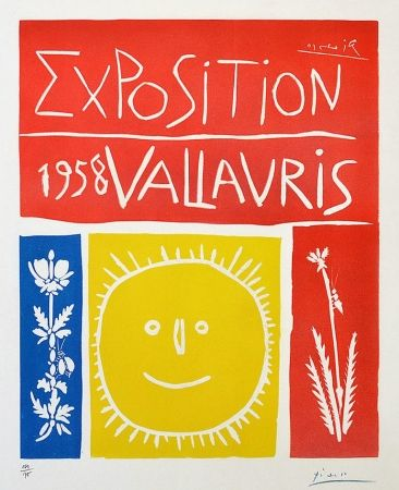 Linocut Picasso - Exposition Vallauris, 1958