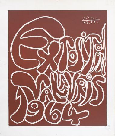 Linocut Picasso - '' Exposition Vallauris 1964 ''