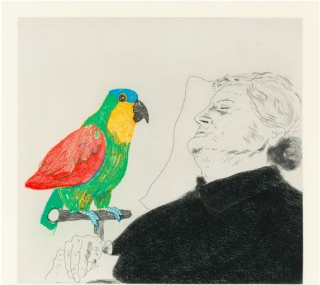Engraving Hockney -  Félicité sleeping with Parrot. 1974