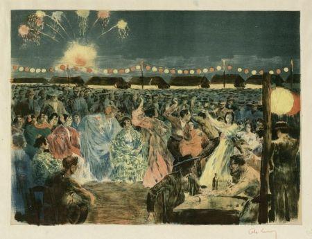 Lithograph Lunois - Fête de nuit sur les bords du Guadalquivir