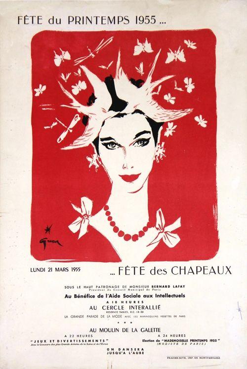 Lithograph Gruau - Fête du Printemps,Fête des Chapeaux