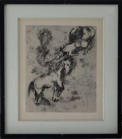 Engraving Chagall - Fables de la Fontaine - Le cheval et l'âne