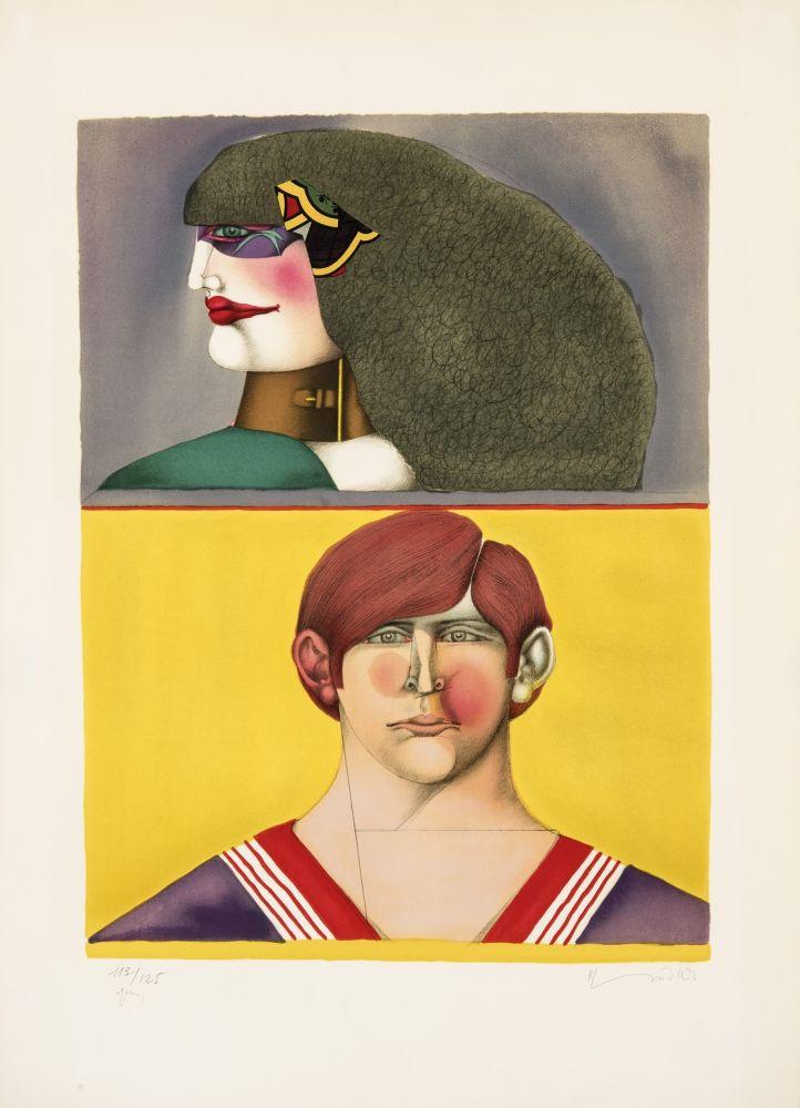 Lithograph Lindner - Face et profil
