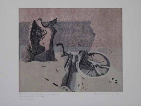 Linocut Rössing - Fahrrad im Schnee (Der Sphinx im Belvedere)