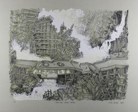 Lithograph Oiwa - Falling Water House