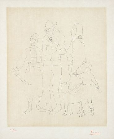 Etching Picasso - Famille de Saltimbanques (Family of Acrobats), c.1950