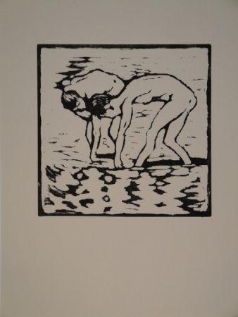 Woodcut Giacometti - Fanciulli nel lago, Alberto und Diego im Silsersee