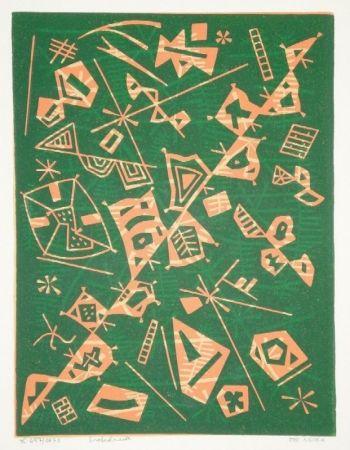 Linocut Nebel - Farbiger Linolschnitt (Werknummer 657/1973)
