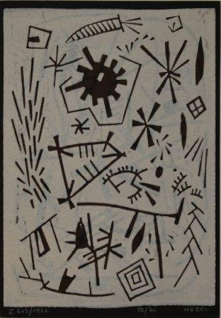 Linocut Nebel - Farbiger Linolschnitt (Werknummer L. 643/1972).