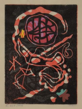 Linocut Nebel - Farbiger Linolschnitt, zum Teil handkoloriert.