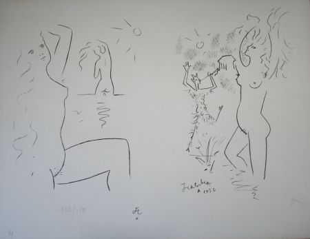 Lithograph Cocteau - Faun and Nymphs at play.