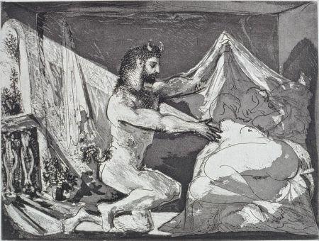 Etching And Aquatint Picasso - Faune dévoilant une femme