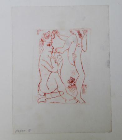 Etching Picasso -  Faune Et Bacchante , Avec Combat De Faunes