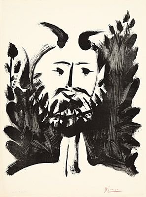Lithograph Picasso - Faune souriant