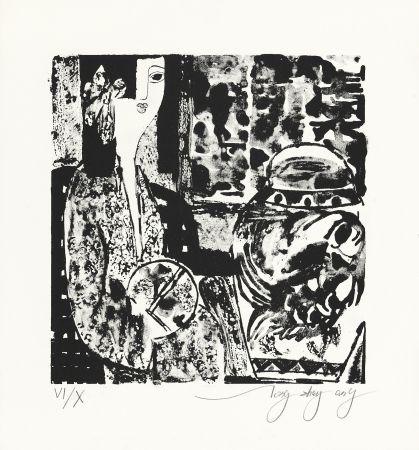 Lithograph Tongzhengang - Femme à l'éventail