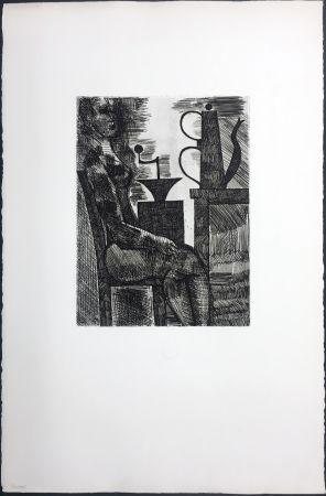 Etching Gromaire - Femme à la cafetière (Chacographie du Louvre)