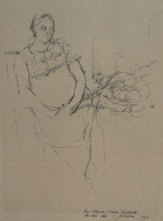 Lithograph Szafran - Femme à la coupe de fruits