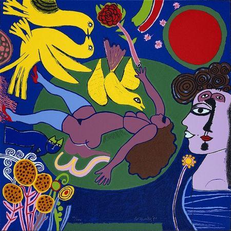Screenprint Corneille - Femme à la fleur