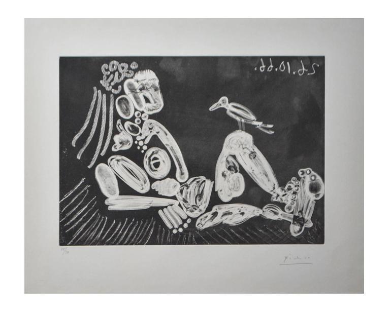 Lithograph Picasso - Femme à l'oiseau