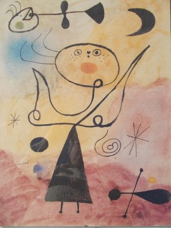 Lithograph Miró (After) - Femme, étoile, oiseau