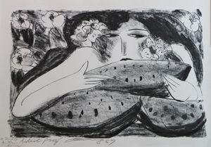 Lithograph Ting - Femme A La Pasteque,