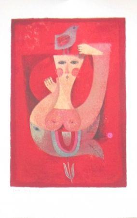 Lithograph Briss - Femme a l'oiseau