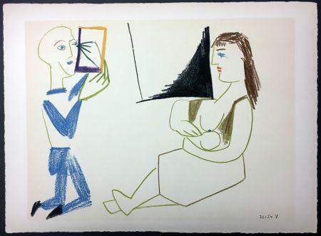 Lithograph Picasso - Femme allaitant (de La Comédie Humaine - Verve 29-30. 1954).