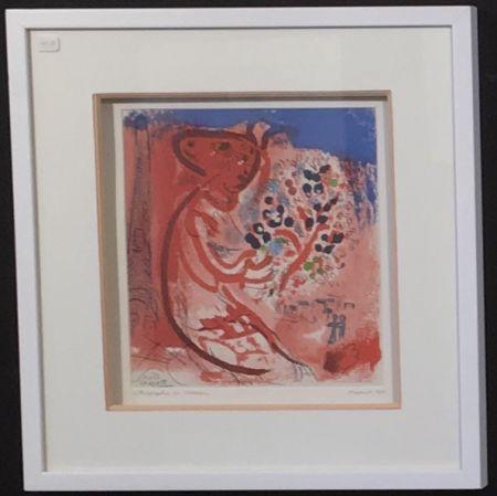 Lithograph Chagall - Femme au bouquet