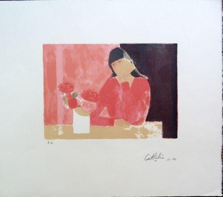 Lithograph Cathelin - Femme au Bouquet de Roses