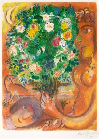 Lithograph Chagall - Femme au Bouquet (Woman with Bouquet)