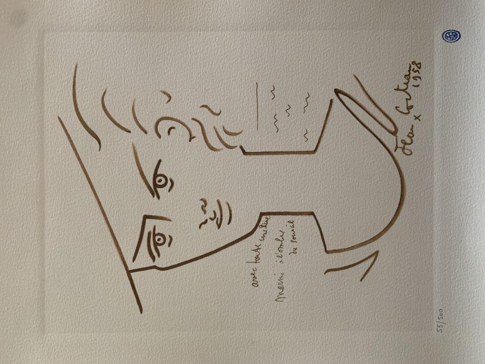 Lithograph Cocteau - Femme au chapeau