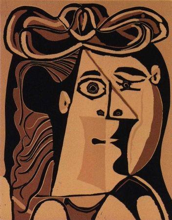 Linocut Picasso - Femme au Chapeau