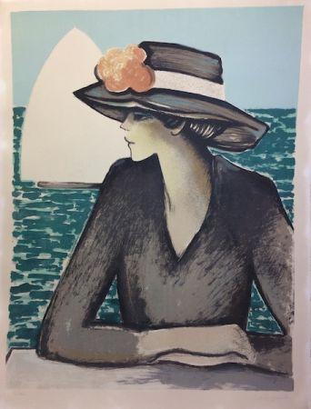 Lithograph Cassigneul  - Femme au chapeau.