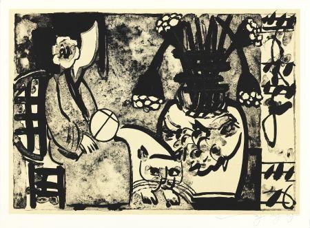 Lithograph Tongzhengang - Femme au chat et  a l'éventail