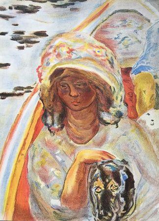 Lithograph Bonnard - Femme au chien dans une barque