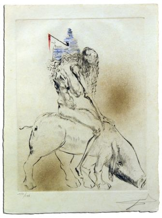 Etching Dali - Femme Au Cochon, from Faust