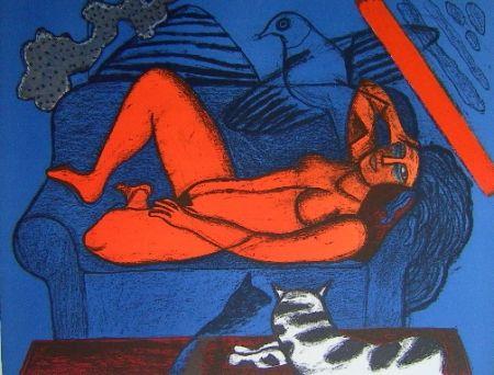 Lithograph Corneille - Femme au divan bleu
