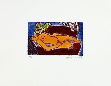 Etching Corneille - Femme au divan rouge
