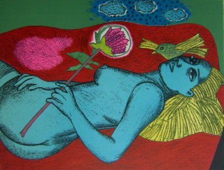Lithograph Corneille - Femme au fleur australien