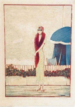 Lithograph Cassigneul  - Femme au Fox