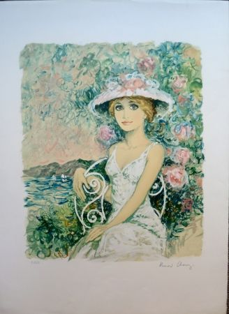 Lithograph Charoy - Femme au Jardin