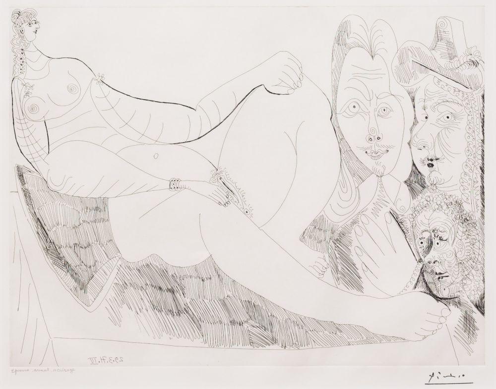 Etching Picasso - Femme au Lit avec Visiteurs