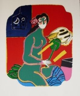Lithograph Corneille - Femme au miroir