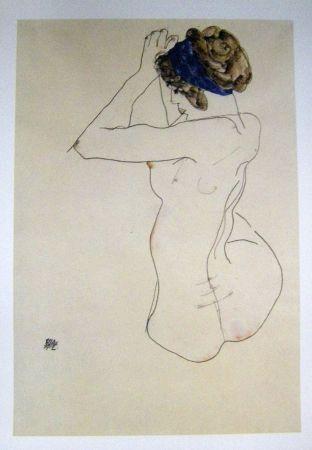 Lithograph Schiele - Femme au turban bleue