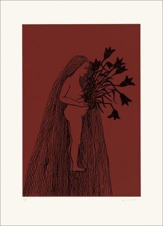 Lithograph Gurbuz - Femme aux cheveux longs II rouge