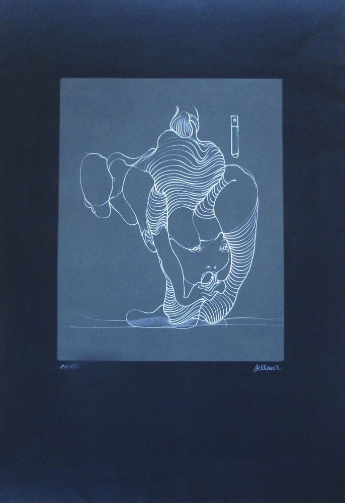Engraving Bellmer - Femme avalant un serpent